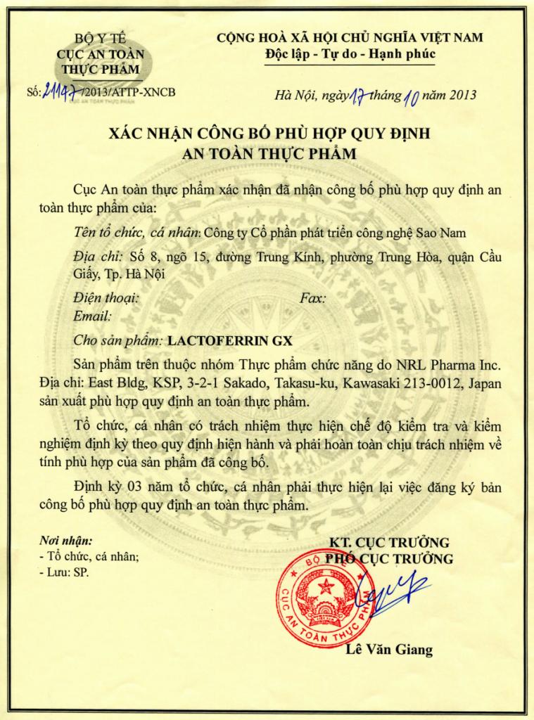 Chứng nhận Lactoferrin-GX. THUMEDI STORE