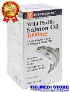 Wild Pacific Salmon Oil 1000mg – Omega 3 từ dầu cá hồi giúp giảm nguy cơ xơ vữa mạch máu