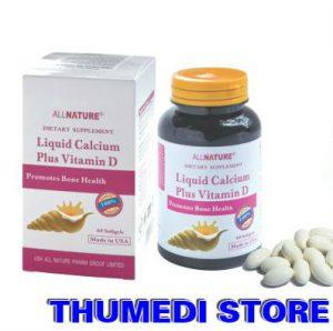 Liquid Calcium Plus Vitamin D (60 viên) – Viên uống bổ sung canxi giúp xương chắc, khỏe và ngăn ngừa thiếu Canxi
